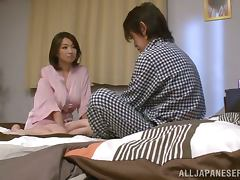 Mio Takahashi the busty babe gives great titjob