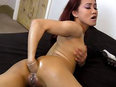 Asian use big dildo Sasha Star