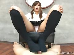 Gorgeous Yurika Miyaji gives a footjob in POV video