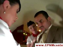 CFNM storyline cabincrew have an in flight fuckfest
