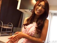 Beautiful Reiko Kobayakawa gets threesomed in a kitchen