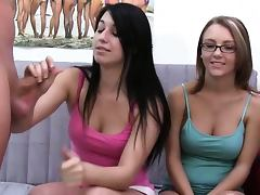 Young girls with glasses sucking penis