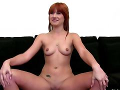 Euro girlnextdoor fingers her pussy during audition