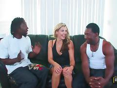 Naughty Jayne Woods gets threesomed by Black guys