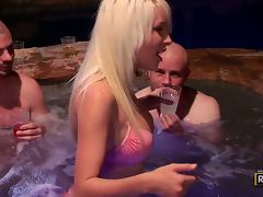 Mandy Armani enjoys amazing gangbang in a pool at night