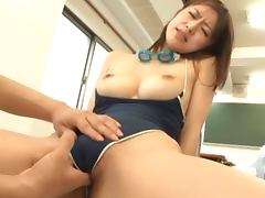 Sexy Japanese girl in swimsuit gets fucked in a classroom