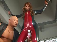 Emiri Okazaki the hot babe in latex gets toyed