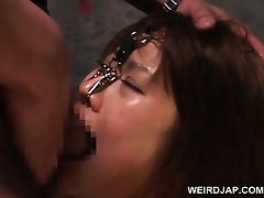 Asian naked sex slaved in chains gets cunt toyed hardcore