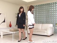 Two stunning Japanese girls have passionate lesbian sex