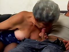 Grey haired granny suck fucks and facialized