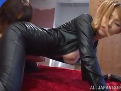 Asian honey in sexy leather suit gets balled deep