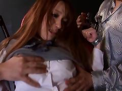 Ayaka Fujikitas moans loudly while getting her vag touched by a few men