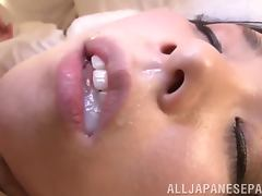 Naughty Marika Tsutsui rides a dick and gets a mouthful