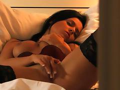 Pornstar Laetitia takes off her bra