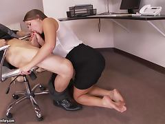 Office, Ass, Blowjob, Couple, Cowgirl, Cute