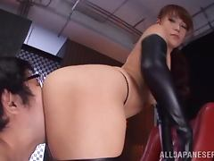 Dazzling Japanese in Leather Boots and Gloves Fucks and Sucks for Jizz