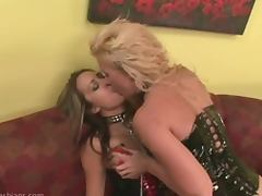 Busty PVC Mistress Fucks Slave with Massive StrapOn
