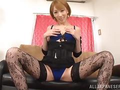 Aya Kisaki pounds her shaved pussy with a realistic dildo