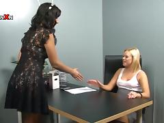 Hot blonde girl gets her pussy licked and fisted in an office