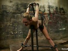 Spanking and Nipple Torture for Hot Rain DeGrey in Extreme Bondage Vid