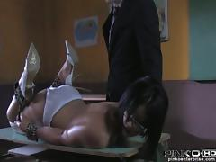 Spanked secretary Cassie will ask for more cum