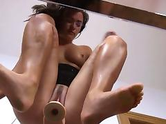 Ultra sexy pussy vibrating on the glass