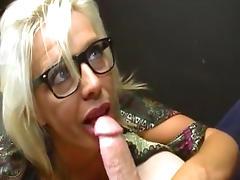Skillful blonde gets cum on her glasses