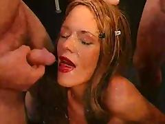 German slut has a bukkake session