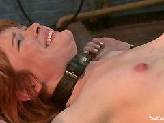 Submissive Claire Robbins gets toyed and fucked by a guy in mask