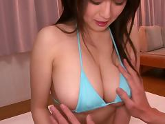Busty Japanese chick gets her meaty snatch amazingly drilled