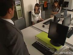 Hot Asian office girls in sexy lingerie have threesome sex