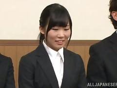 Japanese girl gets fucked on a table in a conference hall