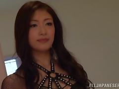 Sexy cutie Reiko Kobayaka lets her man cum on her snatch