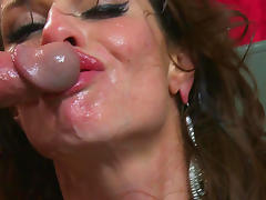 Brunette, Brunette, Facial, Hardcore, Lick, Stockings