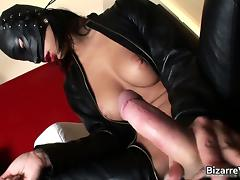 Big boobed sexy body masked bondage babe