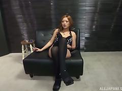 Aika sucks a dick and eats all the cum which she gets