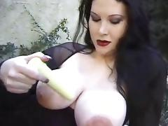 Large Titted Brunette Gets Pounding Outdoors