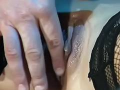 Pumped cum hole two fishnet nylons