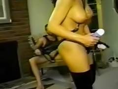 Dilettante femdom goddess fucking thrall with jock