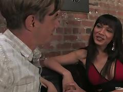 Gorgeous brunette shemale Yasmin Lee drills some guy's ass