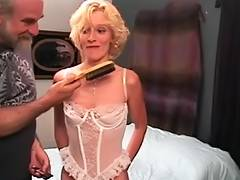Slinky golden haired mother i'd like to fuck receives a hard flogging from old man