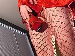 Masturbating in hose with stiletto high heels