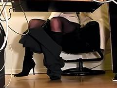 Secretaries underneath desk hidden web camera masturbation