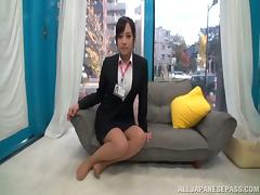 Japanese journalist Emi Asano gets a handful of cum