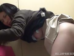 Japanese milf lets a stranger touch her snatch and gives him a blowjob