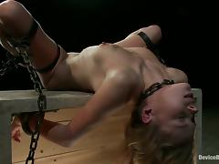 Making Sexy Blonde Tati Russo Cum with Toying in Bondage Video