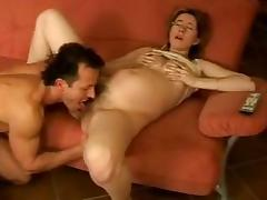 Pregnant chick with hairy pussy gets fucked by Black guy