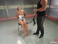 Tattooed brunette girl gets tied up and then sucks a cock