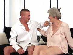 Aliz the slutty granny rides big dick and gets a mouthful porn video