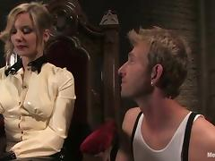Gorgeous blonde mistress stuffs guy's ass with a strap-on
